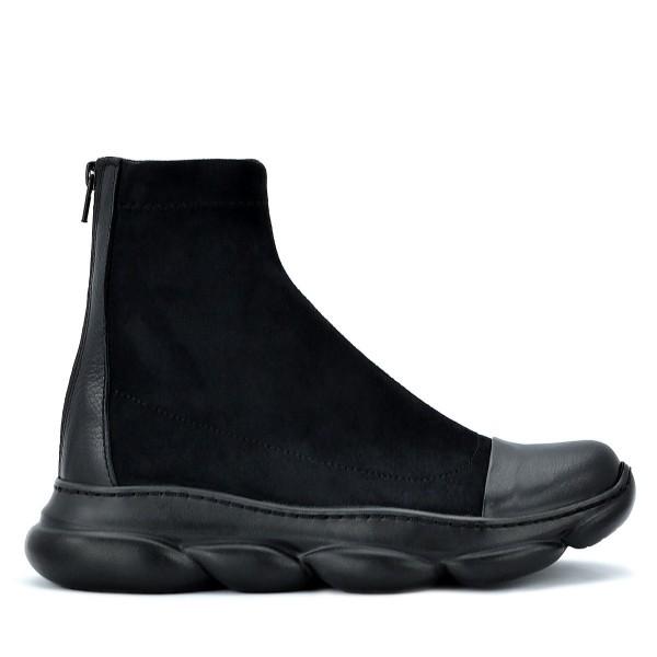 Дамски боти тип чорап Galia black, естествена кожа