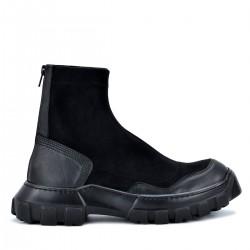 Дамски боти тип чорап Yana black, естествена кожа